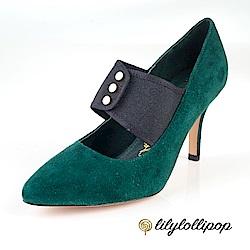 Lilylollipop-Luxury 繃帶釘釦復古跟鞋--墨綠