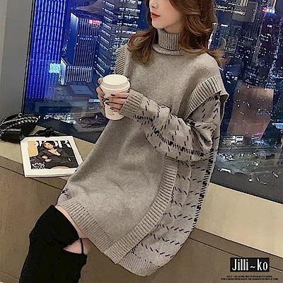 JILLI-KO 韓版假兩件高領針織連衣裙- 灰/黑