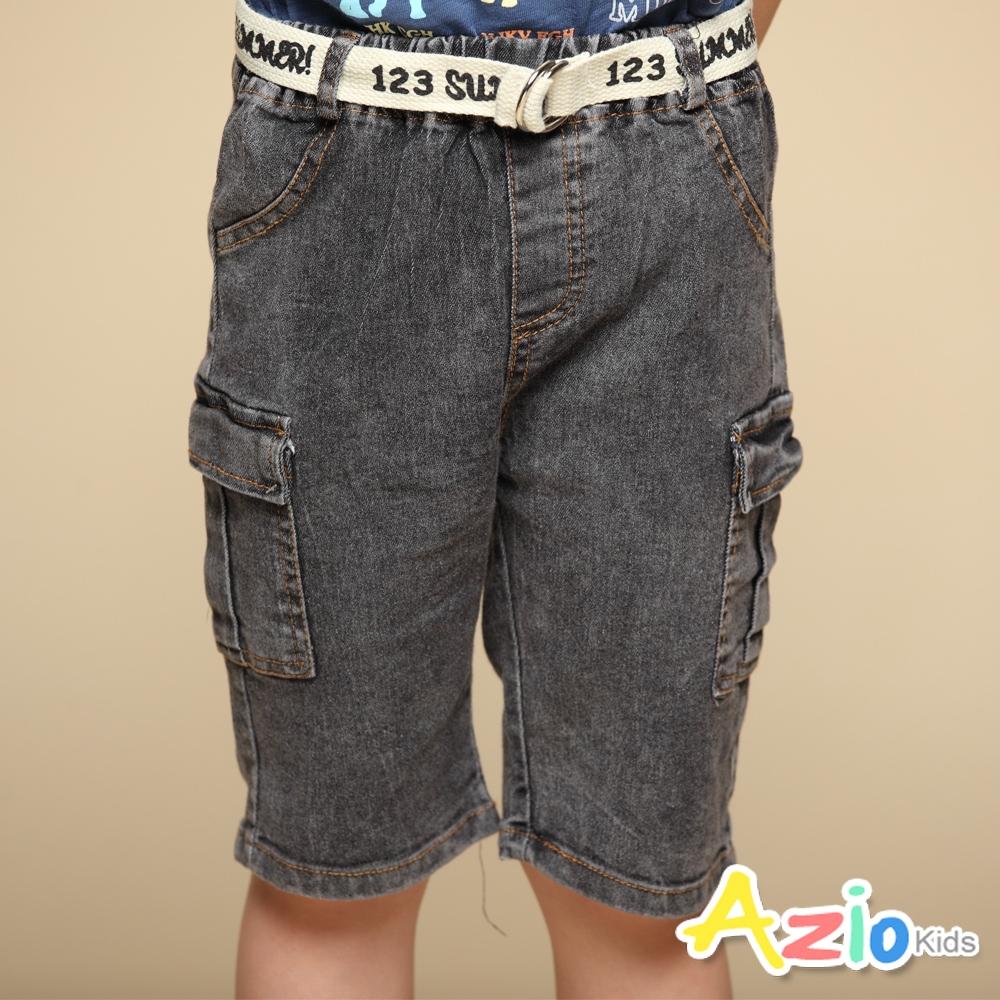 Azio Kids 男童 短褲 側雙口袋牛仔短褲附編織皮帶(黑)