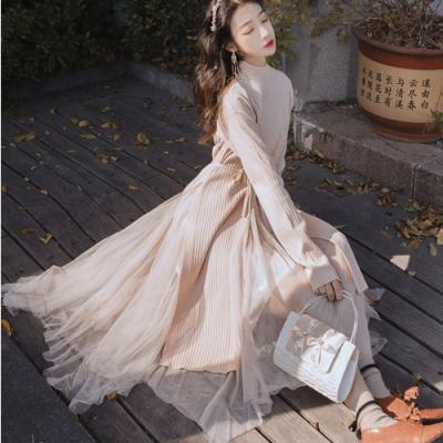杏粉針織毛衣拼接網紗長裙洋裝S-L-維拉森林