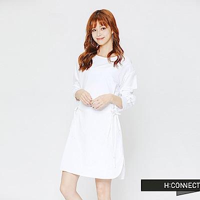H:CONNECT 韓國品牌 女裝-綁帶設計修身洋裝-白