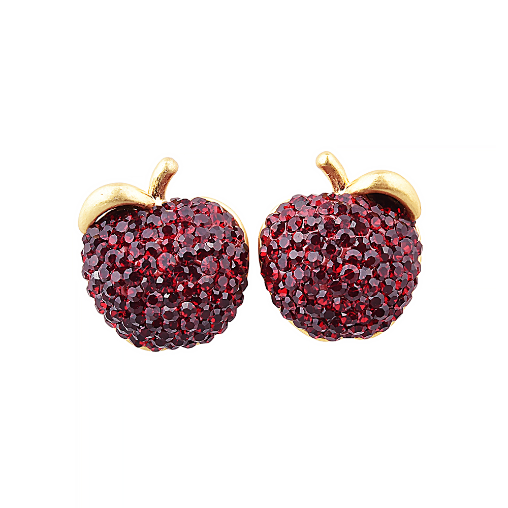 kate spade經典蘋果設計鑽鑲飾穿式耳環(紅)