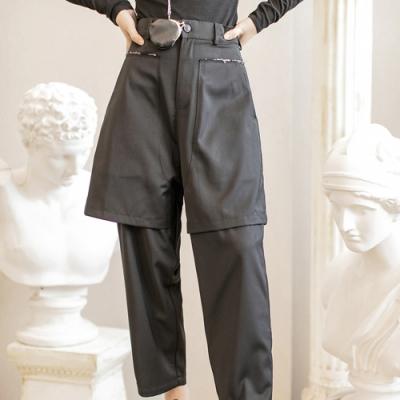 設計所在Style-割邊設計雙層假兩件直筒休閒直筒褲