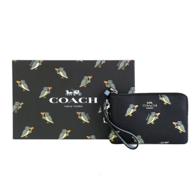 COACH 新款動物派對貓頭鷹可替換吊飾手拿包禮盒組(黑X藍)