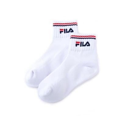 FILA 基本款半毛巾短襪-白 SCU-5005-WT