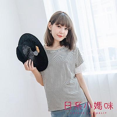 日系小媽咪孕婦裝-韓製孕婦裝~橫條紋拼接布蕾絲荷葉袖上衣 (共二色)