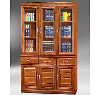 MUNA希爾達樟木色實木4尺書櫃(全組)  120X42X195cm