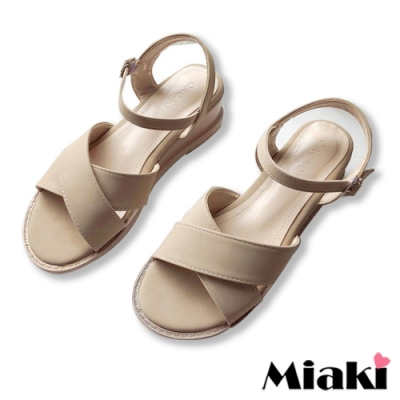Miaki-涼鞋粉系百搭寬帶楔型鞋-米
