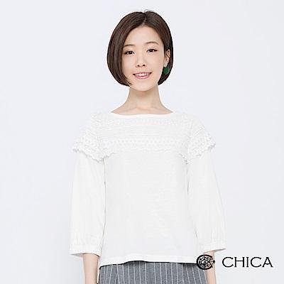 CHICA 經典午茶拼接蕾絲泡泡袖上衣(2色)