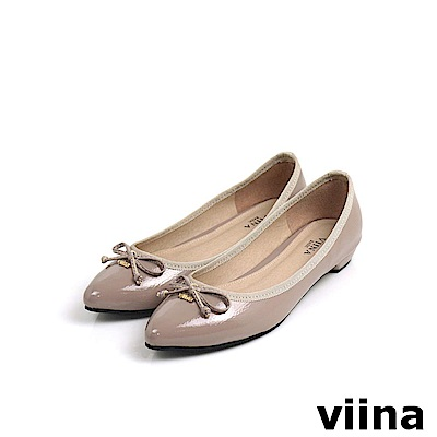 viina Basic鏡面綁帶蝴蝶結低跟鞋 - 藕粉