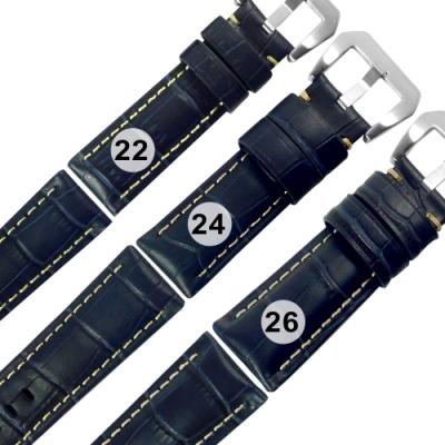 Watchband / 各品牌通用 真皮壓紋錶帶 不鏽鋼扣頭-藍色