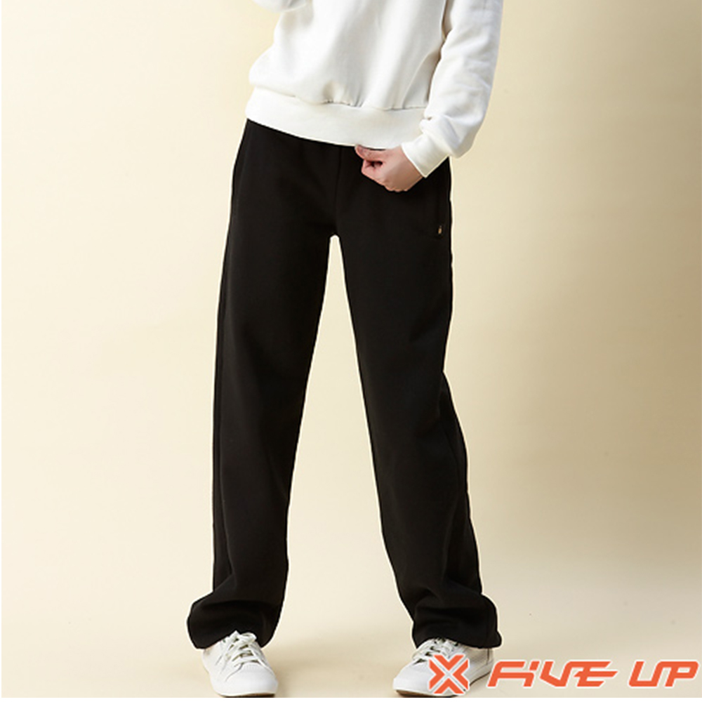【FIVE UP】刷毛束口長褲-黑-女款