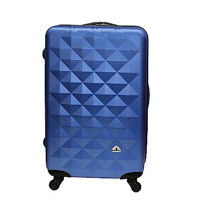 Bear Box 立體菱格晶鑽系列經典24吋 輕硬殼旅行箱行李箱-騎士藍