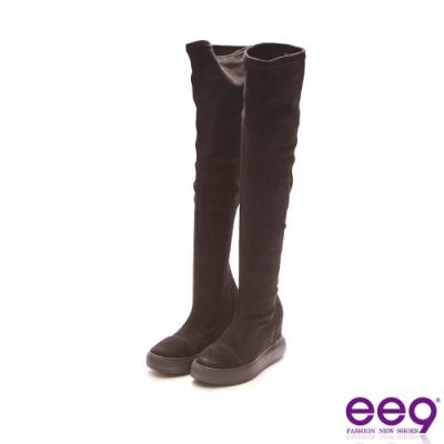 ee9 率性素面百搭彈力絨布厚底高筒靴 黑色-501162  10