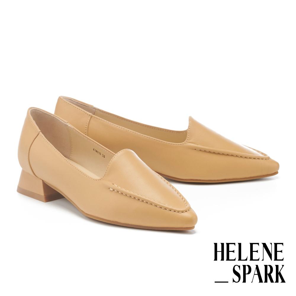 低跟鞋 HELENE SPARK 極簡柔軟純色全真皮尖頭粗低跟鞋-黃