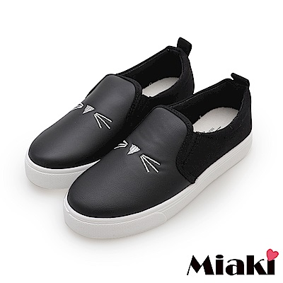 Miaki-休閒鞋.可愛貓咪平底懶人鞋-黑