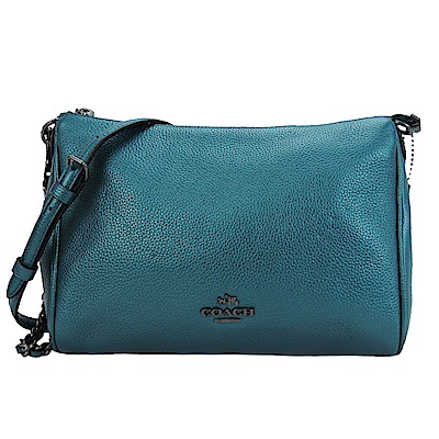 COACH 立體金屬LOGO手提/斜背兩用包(金屬藍綠)