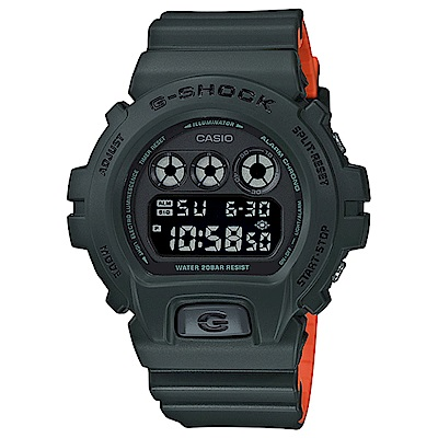G-SHOCK 霧面雙色色調耐衝擊運動錶(DW-6900LU-3)-墨綠X橘/50mm