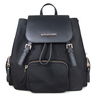 MICHAEL KORS ABBEY 金字Logo防潑水素面尼龍拼接皮革後背包(黑色-大)