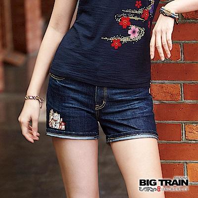 BIG TRAIN 招財貓刺繡配布短褲-女-深藍