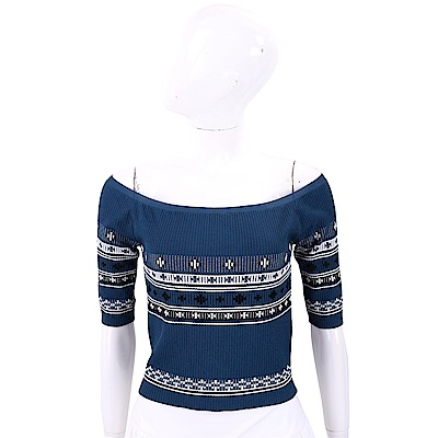 RED VALENTINO 平肩設計藍色圖騰羅紋針織上衣
