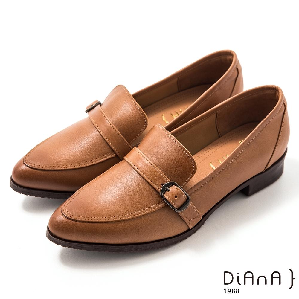 DIANA 3 cm牛皮皮帶釦飾低跟樂福鞋-漫步雲端焦糖美人–棕