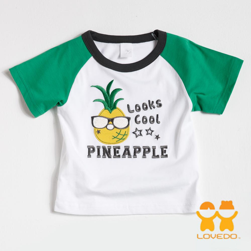 【LOVEDO-艾唯多童裝】帥氣酷鳳梨 拼色短袖T恤 (白)