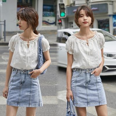 【韓國K.W.】(預購)韓新品最新上架牛仔短裙-1色