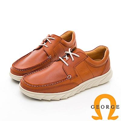 【GEORGE 喬治皮鞋】休閒系列 素面舒適休閒皮鞋-棕色