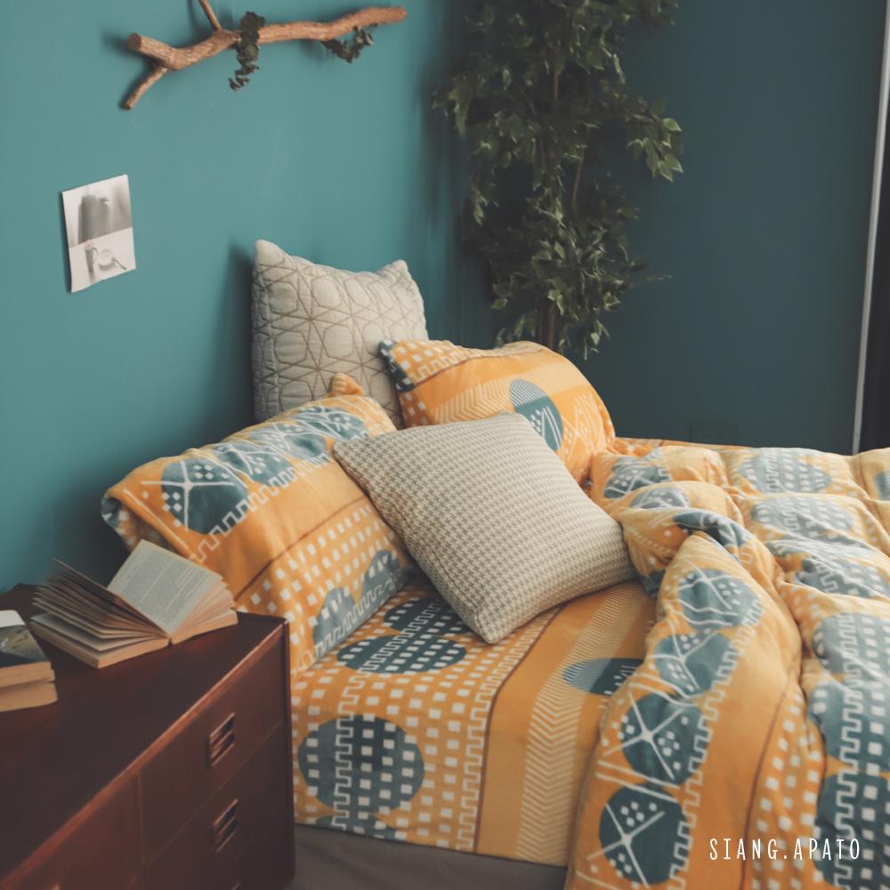 PRIMARIO 台灣製 加大-防靜電極緻保暖法蘭絨被套/床包四件組 列蒂西雅