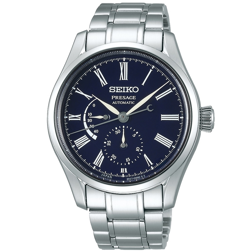 SEIKO精工 Presage 動力儲存琺瑯機械錶(SPB091J1)-藍/40mm