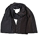FENDI SCIARPA 素雅雙側FF LOGO滾邊雙面羊毛圍巾(咖啡/灰)