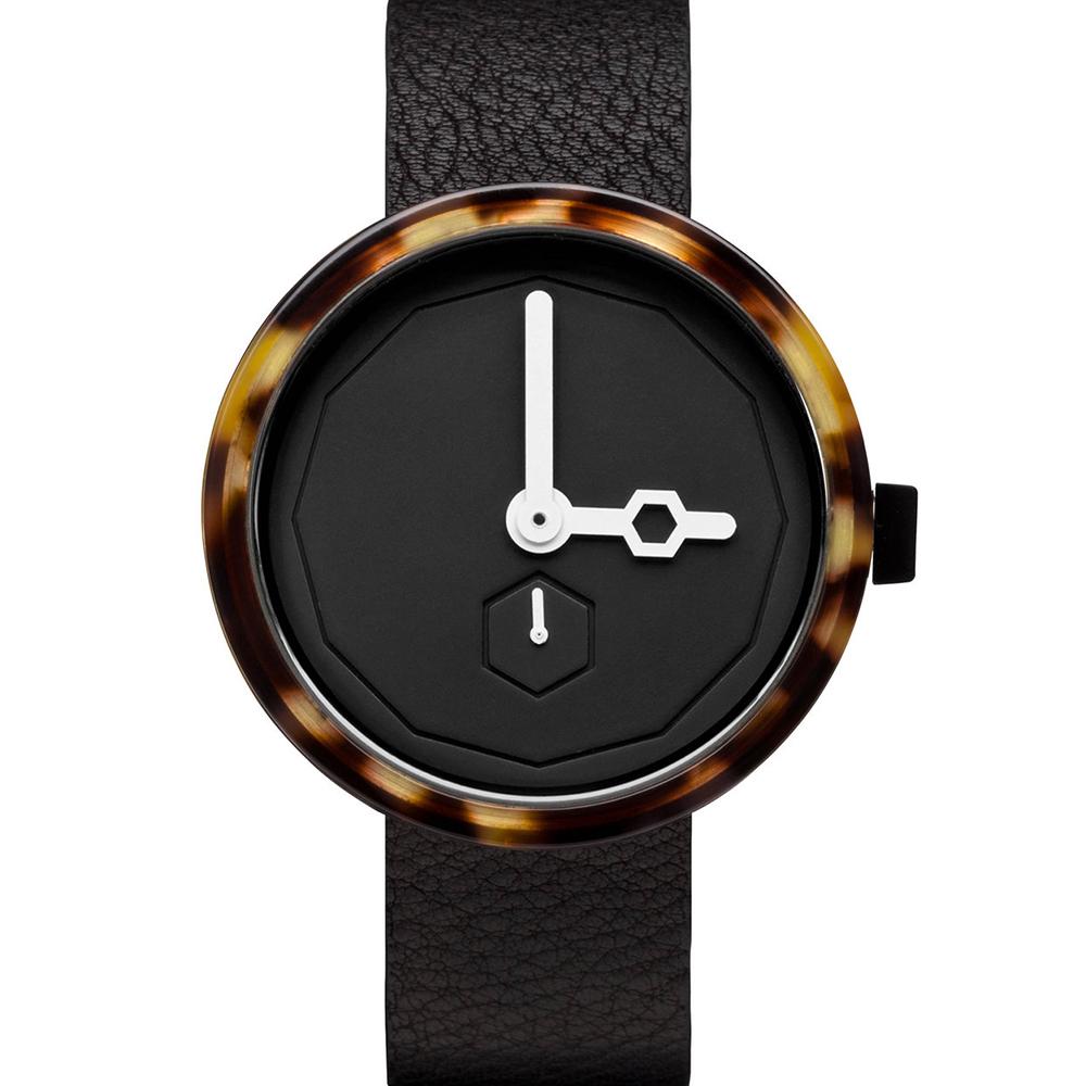 AÃRK 幾何琥珀真皮革腕錶  /黑38mm