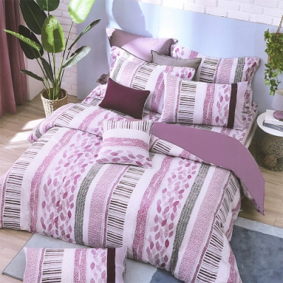 Carolan  藏葉-粉紫 台灣製雙人五件式純棉床罩組