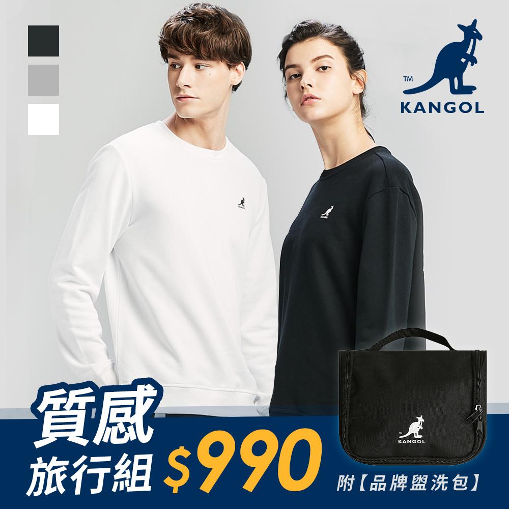 [時時樂]【KANGOL】背面印花大學T-中性款-白/麻灰/黑+盥洗包