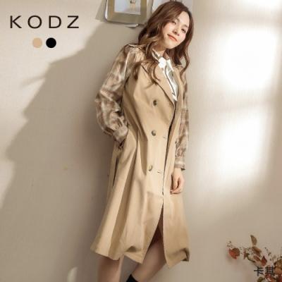 東東京著衣-KODZ 時尚雙排釦拼格紋袖附綁帶風衣外套-M.L(共二色)