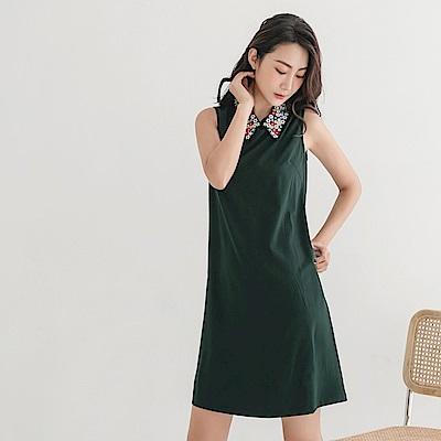 純色簡約俐落修身繡花襯衫領無袖背心洋裝-OB嚴選