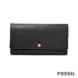 FOSSIL AUBREY 金釦設計多功能零錢長夾-黑色