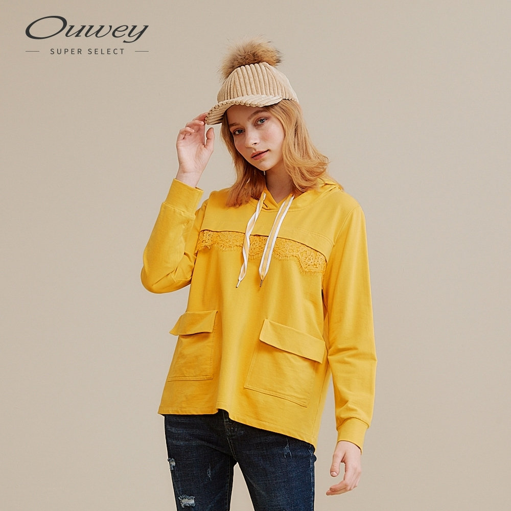 OUWEY歐薇 亮麗休閒感蕾絲織帶抽繩連帽上衣(黃)
