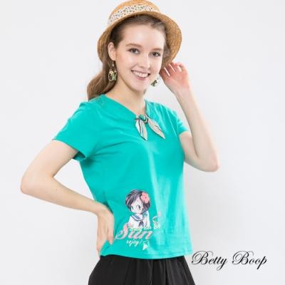 Betty Boop貝蒂 條紋綁帶領結柔棉上衣(湖綠色)