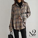 上衣 正韓經典格紋前短後長寬版長袖襯衫(駝色) N2