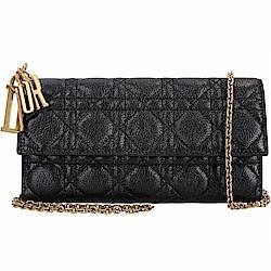 Dior Lady Dior 復古金屬字母吊飾頂級籐格小羊皮鍊帶包(黑色)