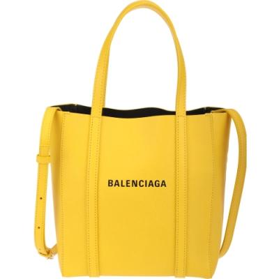 BALENCIAGA Everyday 品牌字母小牛皮小型兩用托特包(黃色)