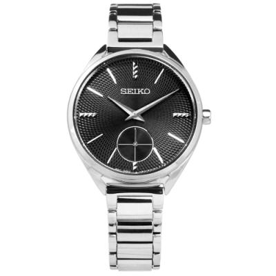SEIKO 精工 都會女伶 獨立秒針 礦石強化玻璃 日本機芯 不鏽鋼手錶-黑色/35mm