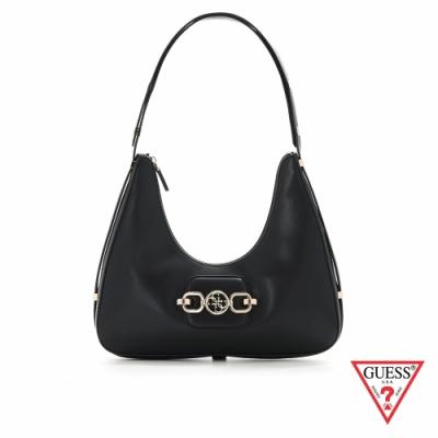 GUESS-女包-都會時尚純色飾扣彎月肩背包-黑 原價2890