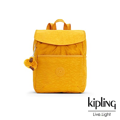 Kipling 亮眼芥末黃翻蓋後背包-TALMA