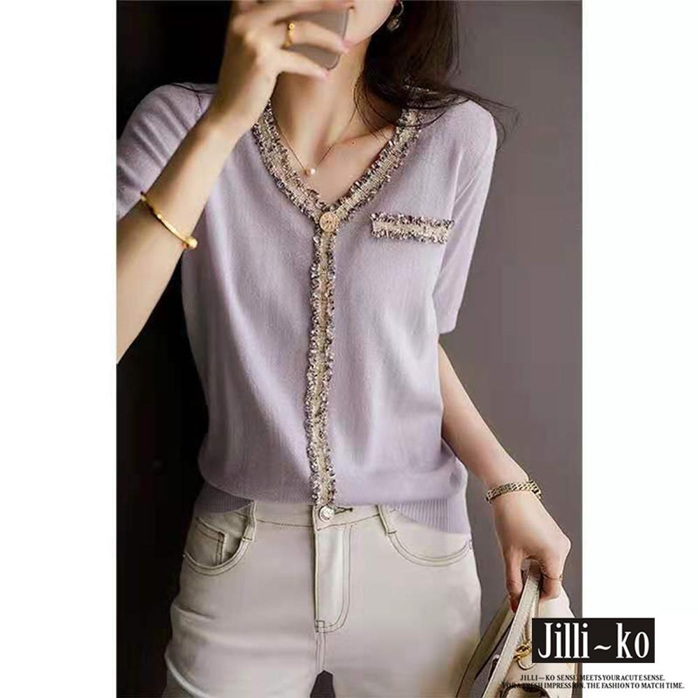 JILLI-KO 時尚混色毛鬚邊薄款針織衫- 淺紫