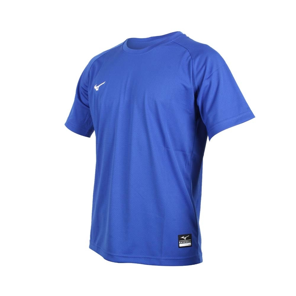 MIZUNO 男棒球練習短袖T恤-美津濃 吸濕速乾 運動 上衣 台灣製 12TC0L1116 藍白