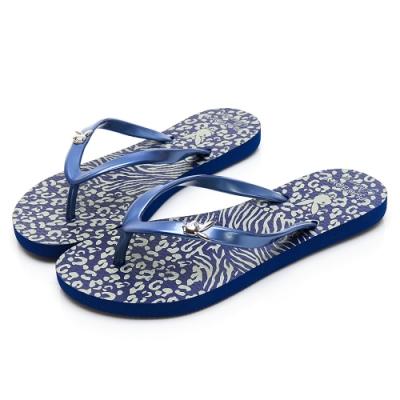 PLAYBOY 個性動物紋夾腳拖鞋-藍