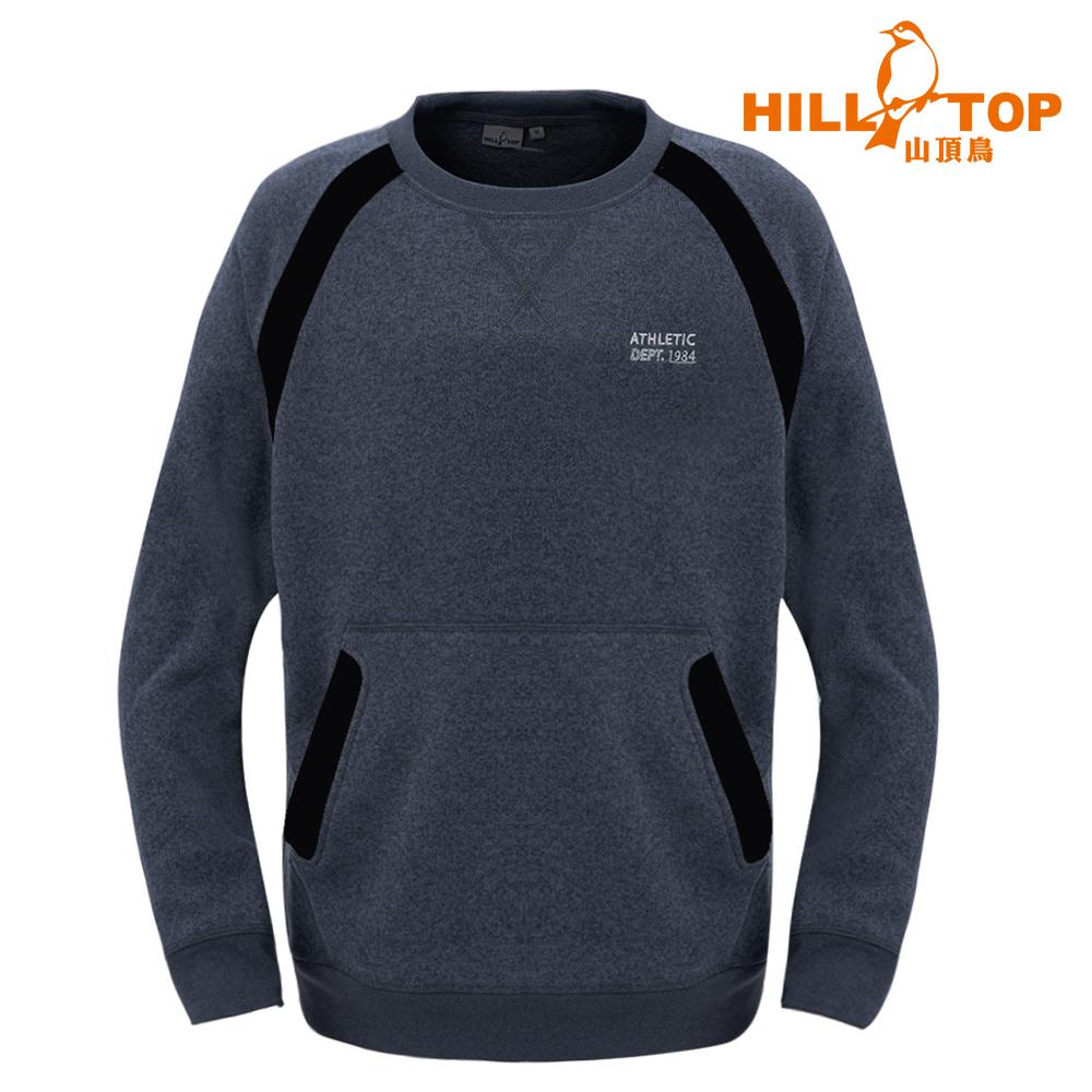 【hilltop山頂鳥】男款 ZISOFIT吸溼快乾保暖刷毛上衣H51MH9麻灰